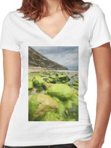 Beach of Llanes Women's Fitted V-Neck T-Shirt