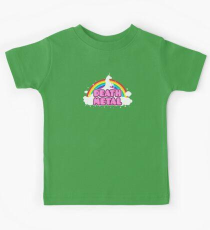DEATH METAL! (Funny Unicorn / Rainbow Mosh Parody Design) Kids Tee
