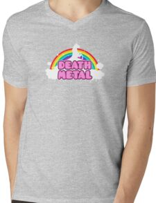 DEATH METAL! (Funny Unicorn / Rainbow Mosh Parody Design) Mens V-Neck T-Shirt