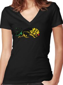 Heraldic Grunge Reggae Lion Heraldry Style Women's Fitted V-Neck T-Shirt