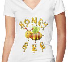 Honey Bee , Sweet . Women's Fitted V-Neck T-Shirt