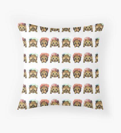 Monkey Emoji Throw Pillow