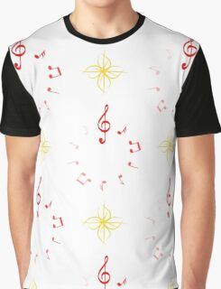 notes in share circle and abstract flowers Graphic T-Shirt