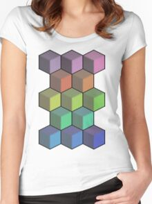 Colorful Cube Cascade! Women's Fitted Scoop T-Shirt