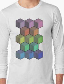 Colorful Cube Cascade! Long Sleeve T-Shirt