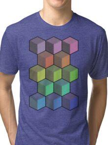 Colorful Cube Cascade! Tri-blend T-Shirt