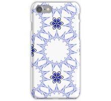 blue fifteen angle stars and six petal flowers iPhone Case/Skin