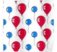 red and blue balloons Poster