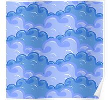 clouds in different colors of blue Poster