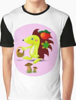 cute hedgehog collects apples and mushrooms in the forest Graphic T-Shirt