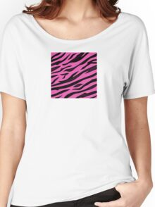 Animal background pattern - pink tiger skin texture. Background texture of pink tiger skin Women's Relaxed Fit T-Shirt