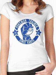 Pokemon Trainer Blue Logo FanArt Women's Fitted Scoop T-Shirt