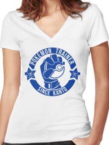 Pokemon Trainer Blue Logo FanArt Women's Fitted V-Neck T-Shirt