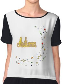 Autumn hand lettering text with leaves Chiffon Top