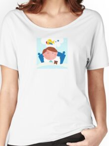 Small boy sleeping in bed and dreaming about airplane Women's Relaxed Fit T-Shirt