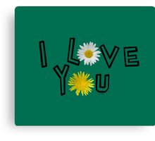 I love you on lush meadow Canvas Print
