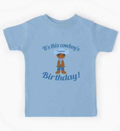Little Cowboy Birthday Dark Skin Kids Tee