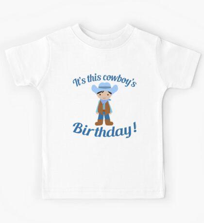 Little Cowboy Birthday Black Hair Kids Tee