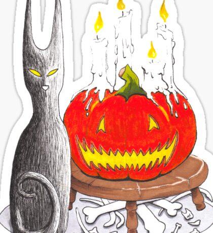 Spooky Halloween Black Cat and Jack-O-Lantern Sticker