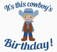 Little Cowboy Birthday Blue Eyes Blonde One Piece - Short Sleeve