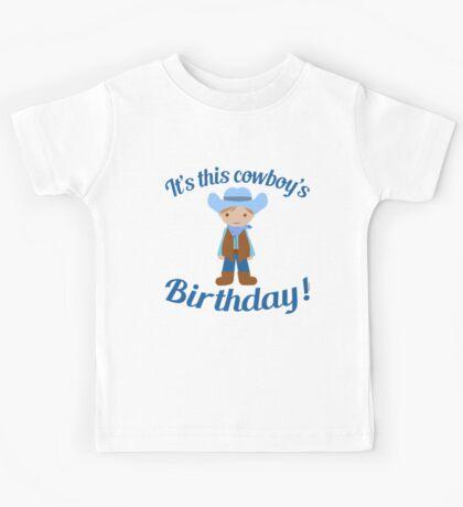 Little Cowboy Birthday Brown Eyes and Hair Kids Tee