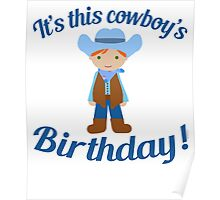 Little Cowboy Birthday Green Eyes Red Hair Poster