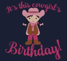 Little Cowgirl Birthday Lighter Skin Black Hair Kids Tee