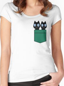 CUTE BLACK CATS IN GREEN POCKET Women's Fitted Scoop T-Shirt