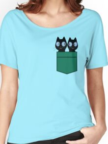 CUTE BLACK CATS IN GREEN POCKET Women's Relaxed Fit T-Shirt