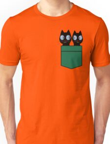 CUTE BLACK CATS IN GREEN POCKET Unisex T-Shirt