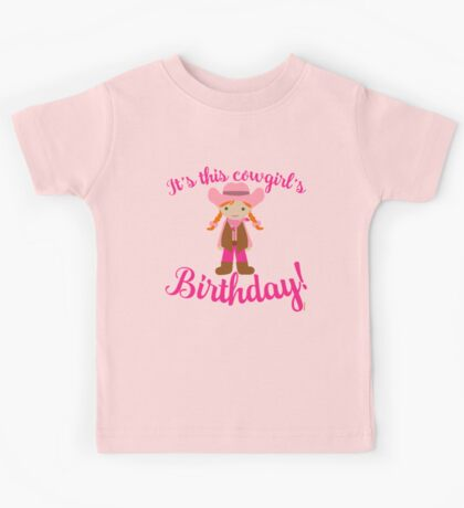 Little Cowgirl Birthday Lighter Skin Red Hair Kids Tee