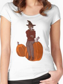 Pumpkin Spice Scarecrow Women's Fitted Scoop T-Shirt