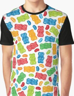 Jelly Beans & Gummy Bears Pattern Graphic T-Shirt