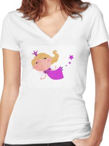 Cute Fairy Princess Character isolated on white background Women's Fitted V-Neck T-Shirt