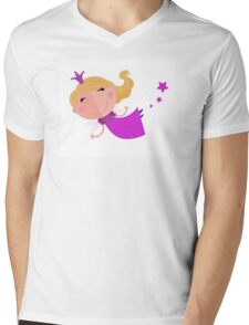 Cute Fairy Princess Character isolated on white background Mens V-Neck T-Shirt