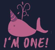 Pink Whale Birthday I'm One Kids Tee