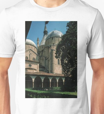 Church crossing exterior and Cloister of St Anthony Padua Italy 19840729 0031 Unisex T-Shirt