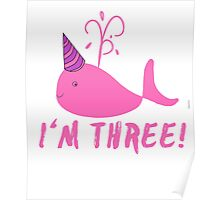 Pink Whale Birthday I'm Three! Poster