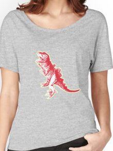 Dino Pop Art - Lime & Red T-Rex Women's Relaxed Fit T-Shirt