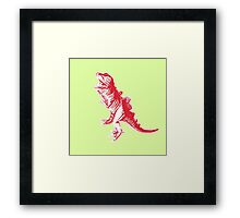 Dino Pop Art - Lime & Red T-Rex Framed Print
