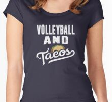 Volleyball and Tacos Best Funny Sports Taco Lover T-Shirt Women's Fitted Scoop T-Shirt