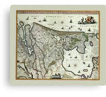 Map Of Holland 1682 Canvas Print