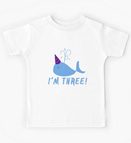 Blue Whale Birthday I'm Three! Kids Tee