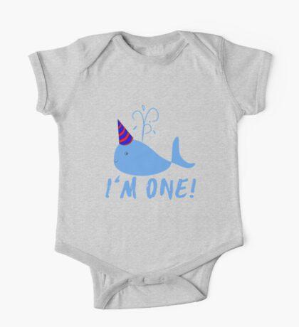 Blue Whale Birthday I'm One! One Piece - Short Sleeve