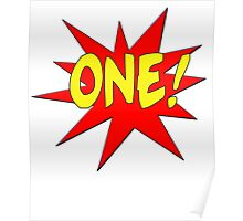 Superhero Kids Birthday Comic Style I'm One! Poster