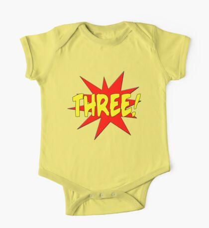 Superhero Kids Birthday Comic Style I'm Three! One Piece - Short Sleeve