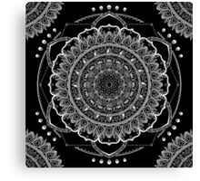 Black and White Geometric Mandala Canvas Print