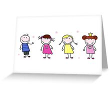 Stick figure inspired children in different characters Greeting Card