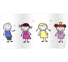 Stick figure inspired children in different characters Poster