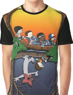 Calvin and Hobbes in the Upside Down Graphic T-Shirt
